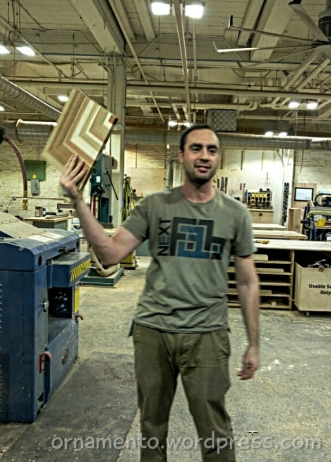 Alex Kaplan in the woodshop