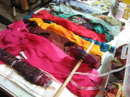 FabricStrips and Drop Spindle